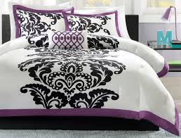 Purple Black And White Bedroom Bedroom Chic Damask Bedroom Decor With Woven Sheet And Teal