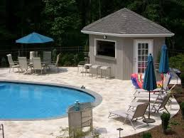small pool shed. Amazing Pool House Designs For Small Family: Magnificent Parasol In Blue Modern Style Shed O