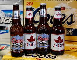 Coors Light Molson Canadian Bottles Beer Displayed Editorial