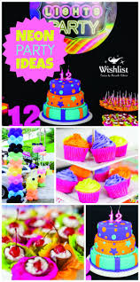 An awesome neon, girl birthday party, including cake and cupcakes with glow  in the