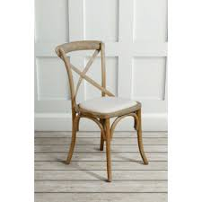 dining chairs online. (PAIR) Chamborde Cross Back Chair Solid Oak French Style - Oatmeal Dining Chairs Online