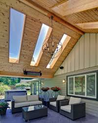 View in gallery Enigmatic Outdoor Living Area with large Skylights