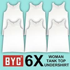 6X BYC <b>WOMEN</b> 100% <b>COTTON WHITE</b> TANK TOP UNDERSHIRT ...