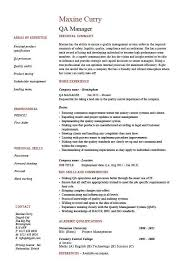 Qc Resume Samples Cv Template Quality Manager Project Manager Resume Job