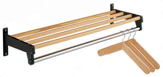 Coat Rack Bar Steel WallMounted Coat Rack with Wood Shelf Slats and Stainless 61