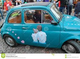 rare small car with romantic art on door in spilamberto italy editorial photography