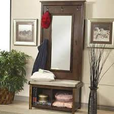 Storage Coat Rack Bench Hallway Entryway Hall Tree Bench Coat Rack Storage Shoe Shelf Mirror 40