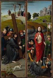 christ carrying the cross with the crucifixion the resurrection with the pilgrims of