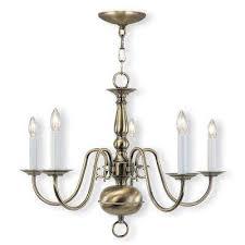 williamsburgh 5 light antique brass chandelier