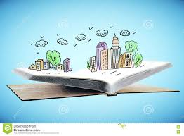 open book with city drawing open book with abstract colorful city drawing on blue background