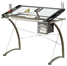 glass table desk handy lifting tempered glass top chrome metal artist drafting writing table desk contemporary