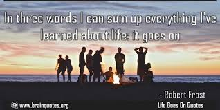 Life Goes On Quotes Mesmerizing In Three Words I Can Sum Up Everything I've Learned About Life It