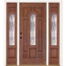 modern residential front doors. 63.5 In.x81.625 In. Medina Brass Center Arch Lt Stained Medium Oak Modern Residential Front Doors