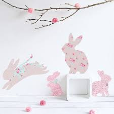vintage floral rabbit wall stickers on wall art childrens bedrooms uk with vintage floral rabbit wall stickers by koko kids