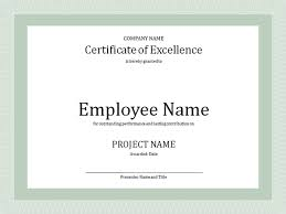 Certificate Of Excellence For Employee