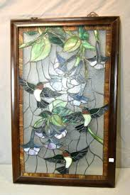 antique framed stained glass window panels a large frame panel with fl d leaded featuring hummingbirds