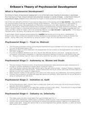Advanced General Psychology Chart Eriksons Psychosocial