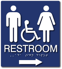 Bathroom sign with arrow Superhero Ada1166 Unisex Wheelchair Accessible Restroom Sign With Direction Arrow Blue Ada Sign Depot Unisex Wheelchair Accessible Restroom Sign With Direction Arrow