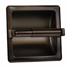howplumb recessed toilet paper holder with rear mounting bracket oil rubbed bro