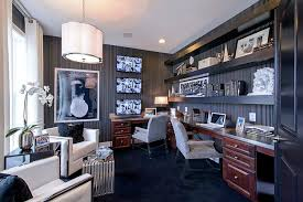 wallpaper for home office. Striped Wallpaper Sets The Mood In This Glamorous Home Office For L