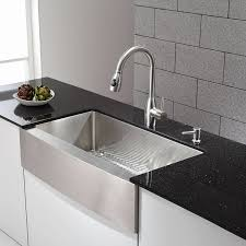 black kitchen sinks and faucets. Amazing Kitchen With Stainless Steel Drop In Farmhouse Sink And Pull Down Faucet Plus Black Countertop For Interesting Decor Double Basin Inch Farm Sinks Faucets