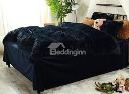 usd 93 99 full size navy blue super soft fluffy plush 4 piece bedding sets duvet cover