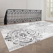 Simple White Area Rug Fleur De Lis Living Abbate Venetian Greywhite Inside Concept Ideas