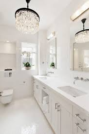 long crystal chandelier bathroom transitional with hexagon tile octagonal and dot multiuse mosaic tiles