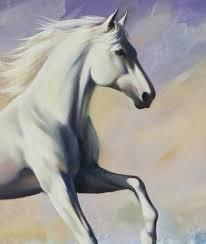 large running white horse sea s seascape ocean waves painting artsense