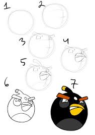 angry birds drawing for kids. Fine For Drawing Tutorial How To Draw A Black Angry Bird Step By And Angry Birds Drawing For Kids R