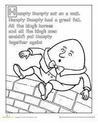 Small Picture Humpty Dumpty Nursery Rhyme Worksheet Educationcom