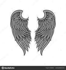 Vektorové Ikony Nádherný Pták Nebo Anděl Křídla S šedé Peří A černá