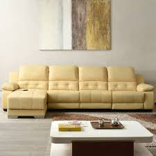 beige power driven recliner sectional sofa in genuine leather with right facing chaise lh 699 1 decoraport canada