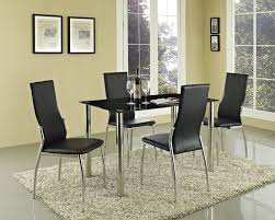 glass dining room set. Black Glass Dining Table Set And With 4 Or 6 Faux Leather Chairs Chrome Legs New - Buy Set,Faux Chairs,Chrome Leg Room L