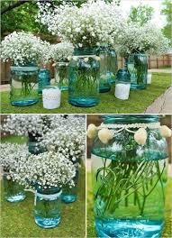 Blue Mason Jars Wedding Decor DIY Aqua Blue Mason Jar Wedding Centerpiece Baby's Breath 4