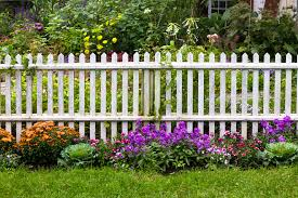 White picket fence pretty flowers