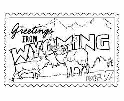 Small Picture Wyoming State Stamp Coloring Page USA Coloring Pages Pinterest