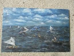 Paintings On Nautical Charts Original Robert Van Vranken Surrealism Oil Painting On