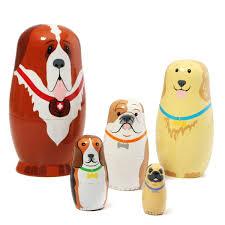 russian wooden nesting dolls dogs matryoshka hand painted gift 5pcs set cod