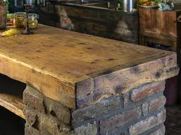 kitchen countertop made out of salvaged wood