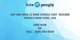 Sap Mm Wms Le Ewm Consultant Resume Profile New York Usa Hire It