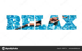 Pool Word Word Relax Made Of Photo With Girl In The Swimming Pool Isolated On
