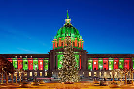Christmas Tree In Union Square San Francisco USA At Night Stock Christmas Tree In San Francisco