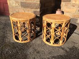 round wicker end tables