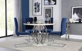 savoy round white marble and chrome dining table with 4 perth blue chairs