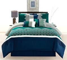 7 piece geometric navy green taupe ivory teal embroidery comforter set duvet cover king size covers