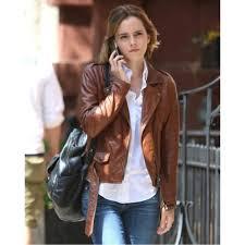 emma watson brown biker moto leather jacket