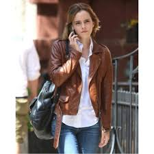 emma watson brown biker moto leather jacket