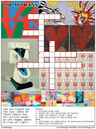 print and play our pop art icons crossword puzzle an arts game for kids