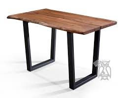 solid acacia live edge counter height dining table with metal base